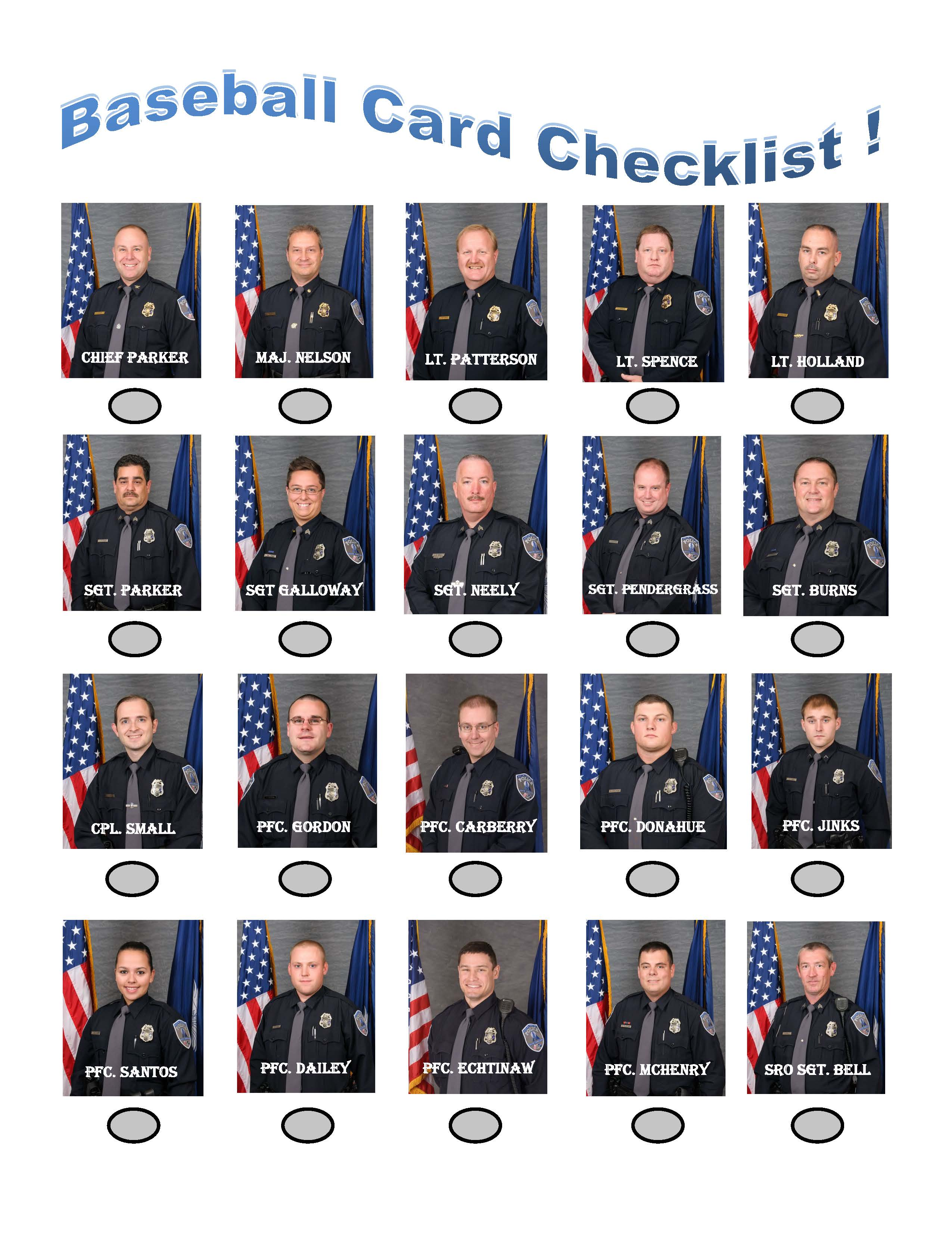 Cop Cards Check List 2016